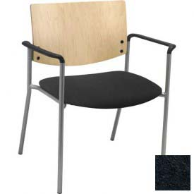 Big & Tall Guest/Reception Chair - Arms with Natural Wood Back, Black Vinyl Seat