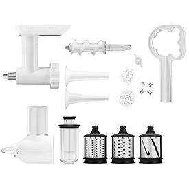 KitchenAid® Mixer Attachments Food Grinder, Rotor Slicer/Shredder & Sausage Stuffer Kit - KGSSA