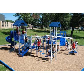 Playsystem W/Gable Roofs In Blue/White Combination, For Ages 5 To 12