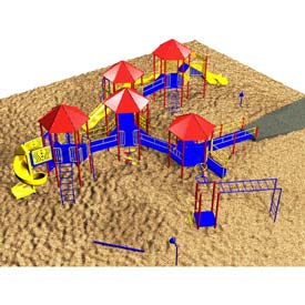 Playsystem W/Hex-Shaped Roofs In Red/Yellow/Blue Combination, For Ages 5 To 12
