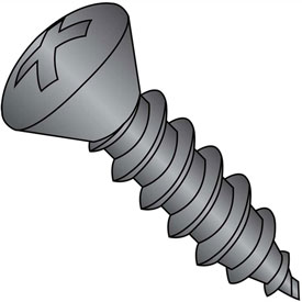 #4 x 1/2 Phillips Oval Self Tapping Screw Type AB Fully Threaded Black Oxide Package of 10000 by