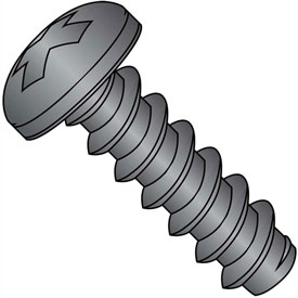 #8 x 3/8 Phillips Pan Self Tapping Screw Type B Fully Threaded Black Zinc Bake Package of 10000 by