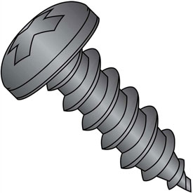 #8 x 5/8 Phillips Pan Self Tapping Screw Type A Fully Threaded Black Oxide Package of 9000 by
