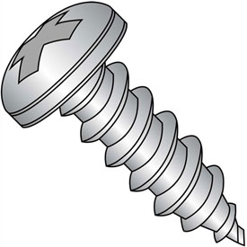 #8 x 1 Phillips Pan Self Tapping Screw Type A Fully Threaded 18-8 Stainless Steel Package of 4000 by