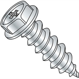 #8 x 1-1/2 Phillips Indented Hex Washer Self Tapping Screw Type AB Full Thread Zinc - Pkg of 3000