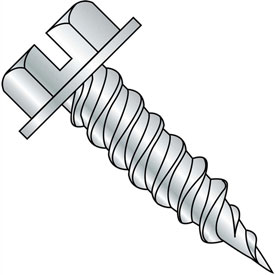 #8 x 1-1/2 Slotted Ind. Hex Washer 1/4 Across Flats FT Self Piercing Screw Needle Pt Zinc,2500 pcs