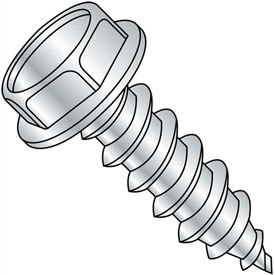 #8 x 2-1/2 Unslotted Indented Hex Washer Self Tapping Screw Type AB Full Thread Zinc - Pkg of 1000
