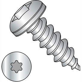 #10 x 1-1/4 Six Lobe Pan Self Tapping Screw Type A Full Thread 18-8 Stainless Steel Package of 2000 by