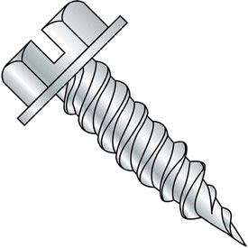 #14 x 1-1/4 Slotted Ind. Hex Washer 3/8 Across Flats FT Self Piercing Screw Zinc Needle Pt - 1000 Pk