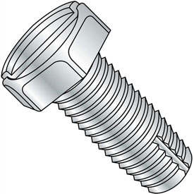 3/8-16X1  Slotted Indented Hex Thread Cutting Screw Type 1 Full Thrd Zinc Bake And Wa, Pkg of 1250