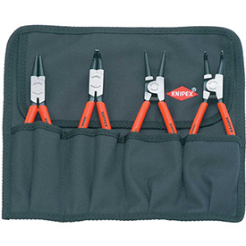 KNIPEX 00 19 56 4 Pc Circlip Snap-Ring Pliers Set In Tool Roll by