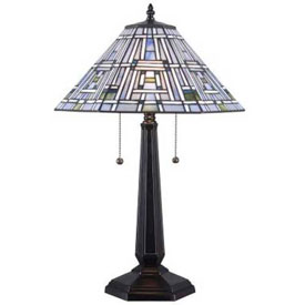 "Kenroy Lighting, Citrus Box Table Lamp, 32372BL, Multi Colored Stained Glass Shade, Metal, 16""L by"