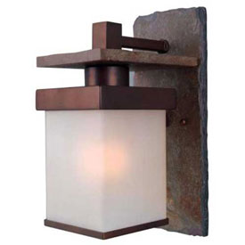 "Click here to buy Kenroy Lighting, Boulder 1 Lt Lg. Wall Lantern, 70282COP, Slate W/Copper Finish, Aluminum, 10""L."