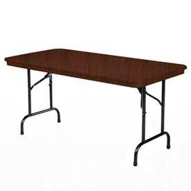 "KI Plastic Folding Table - Rectangular - 60""L x 30""W - Walnut - Duralite Series"