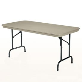 "KI Plastic Folding Table - Rectangular - 72""L x 30""W - Sand - Duralite Series"