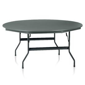 "KI Plastic Folding Table - 72"" Round - Blue Grey Top - Duralite Series"