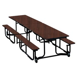 12 foot Uniframe Bench Table - Brighton Walnut Top and Benches Black frame