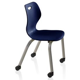 Intellect Wave Chair with Casters - Starlight Silver frame with Nordic Shell