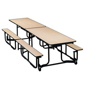 12 foot Uniframe Bench Table - Kensington Maple Top and Benches Black frame