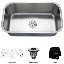 "Kraus KBU14 31-1/2"" Undermount Single Bowl 16 Ga. Stainless Steel Kitchen Sink"