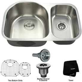 "Kraus KBU21 30"" Undermount 60/40 Double Bowl 16 Ga. Stainless Steel Kitchen Sink"