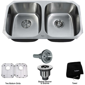 "Kraus KBU22 32"" Undermount 50/50 Double Bowl 16 Ga. Stainless Steel Kitchen Sink"
