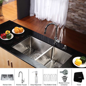 "Kraus KHU102-33-KPF1622-KSD30CH 33"" Undermount Double SS Sink W/Chrome Faucet & Soap Dispenser"