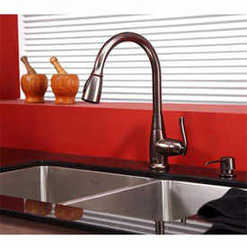 "Kraus KHU103-33-KPF2230-KSD30ORB 33"" Undermount Double SS Sink W/ORB Finish, Faucet & Soap Dispenser"