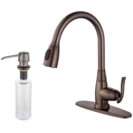 Kraus KPF-2230-KSD-30ORB Single Lever Pull Out Kitchen Faucet & Soap Dispenser Oil Rubbed Bronze