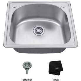 "Kraus KTM24 25"" Topmount Single Bowl 18 Ga. Stainless Steel Kitchen Sink"