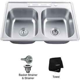 "Kraus KTM33 33"" Topmount 50/50 Double Bowl 18 Ga. Stainless Steel Kitchen Sink"