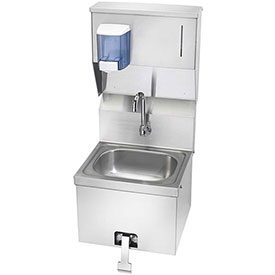 "Krowne HS-16 16"" Wide Hand Sink with Knee Valve and Soap & Towel Dispenser by"