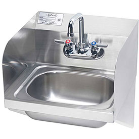 "Krowne HS-23 16"" Wide Hand Sink with Side Support Brackets and Side Splashes by"