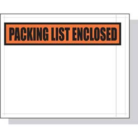 """Packing List Envelopes, 4-1/2""""W x 5-1/2""""L, White Back/Clear Front w/Print, 1000/CASE"""