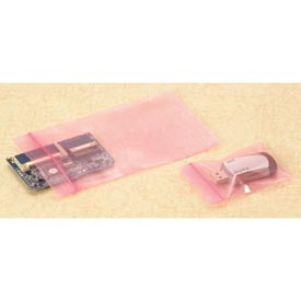 "Reclosable Zip Top Anti-Static Bags, 6""W x 10""L 4 Mil Pink, 1000/CASE"