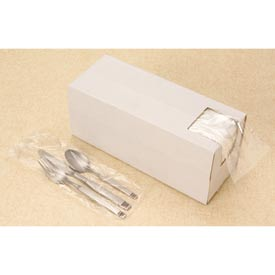 "Silverware Bags in Dispenser Box, 3-3/4""W x 10""L 0.65 Mil Clear, 2000/CASE by"