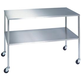 "Lakeside® 8398 Stainless Steel Instrument Table with Shelf - 60""L x 24""W x 34""H"