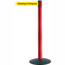 "Tensabarrier Popular 38""H Red Post 7.5'L BLK/YLW Cleaning in Progress Retractable Belt"
