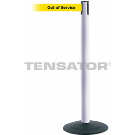 "Tensabarrier Popular 38""H White Post 7.5'L BLK/YLW Out of Service Retractable Belt"