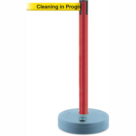 Tensabarrier Red Outdoor Post 7.5'L BLK/YLW Cleaning in Progress Retractable Belt Barrier