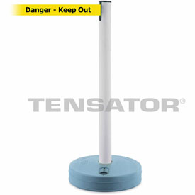 Tensabarrier White Outdoor Post 7.5'L BLK/YLW Danger-Keep Out Retractable Belt Barrier