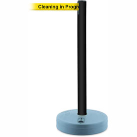 Tensabarrier Black Outdoor Post 7.5'L BLK/YLW Cleaning in Progress Retractable Belt Barrier
