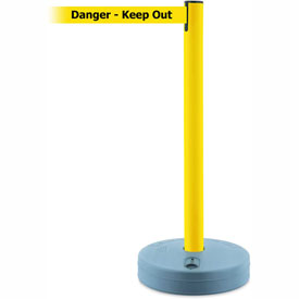 Tensabarrier Yellow Outdoor Post 7.5'L BLK/YLW Danger-Keep Out Retractable Belt Barrier