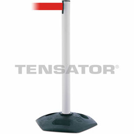 Tensabarrier White Heavy Duty Post 7.5'L Red Retractable Belt Barrier