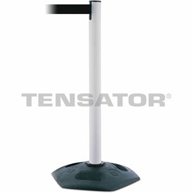 Tensabarrier White Heavy Duty Post 7.5'L Black Retractable Belt Barrier