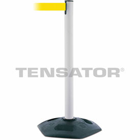 Tensabarrier White Heavy Duty Post 7.5'L Yellow Retractable Belt Barrier