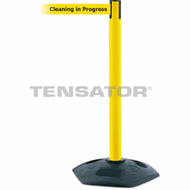 Tensabarrier Yellow Heavy Duty Post 7.5'L BLK/YLW Cleaning in Progress Retractable Belt Barrier