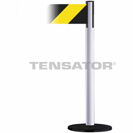 Tensabarrier White Plus Advance 7.5'L Black/Yellow Chevron Retractable Belt Barrier