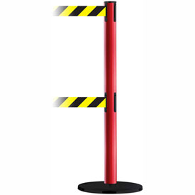Tensabarrier Blue Advance Dual Line 7.5'L Black/Yellow Chevron Retractable Belt Barrier