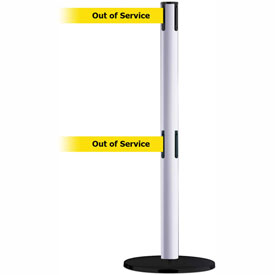Tensabarrier White Advance Dual Line 7.5'L BLK/YLW Out of Service Retractable Belt Barrier